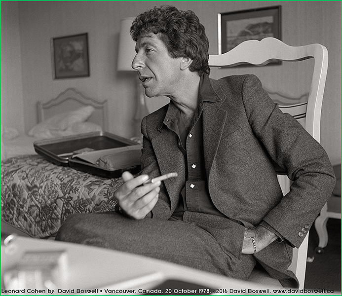 Leonard Cohen by David Boswell. Vancouver. 20 October 1978.